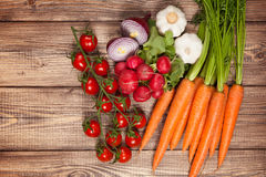 Fresh vegetables on a wooden table Stock Photo