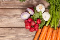Fresh vegetables on a wooden table Stock Photography