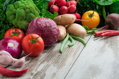 Fresh vegetables. On a wooden table Stock Photo