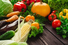 Fresh vegetables on a wooden table. Royalty Free Stock Image