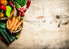Fresh vegetables on wooden table. Organic vegetables. Fresh vegetables on a wooden table Royalty Free Stock Photography