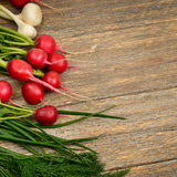 Fresh vegetables on wooden table. Royalty Free Stock Photo