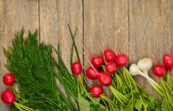 Fresh vegetables on wooden table. Stock Image