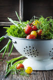 Fresh vegetables on the wooden table Royalty Free Stock Images