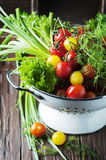 Fresh vegetables on the wooden table Royalty Free Stock Photos