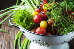 Fresh vegetables on the wooden table Stock Photography