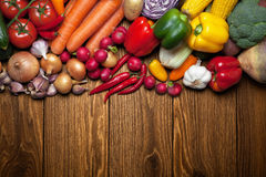 Fresh vegetables on a wooden table. Stock Photography