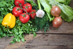 Fresh vegetables on a wooden table Royalty Free Stock Images