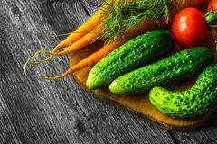 Fresh vegetables on wooden vintage table Stock Images