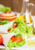 Fresh vegetables wrapped in Armenian lavash Royalty Free Stock Images