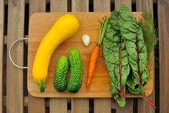 Fresh vegetables: yellow marrow, cucumbers, carrot and chard on Stock Photo