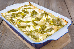 Fresh vegetarian lasagna with asparagus Royalty Free Stock Images