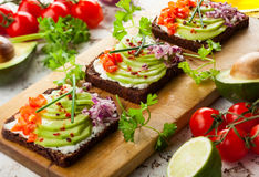 Fresh vegetarian open sandwiches Royalty Free Stock Photography
