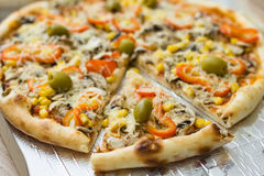 Fresh Vegetarian Pizza Royalty Free Stock Image