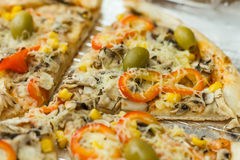 Fresh Vegetarian Pizza Royalty Free Stock Photography