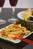 Fresh vegetarian salad:asparagus and sea cabbage Stock Photos