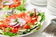 Fresh vegetarian salad on the plate Royalty Free Stock Photos