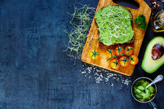 Fresh vegetarian sandwich. Freshly made vegetarian sandwich with whole grain bread, alfalfa and guacamole on rustic wooden cutting board over dark vintage table Royalty Free Stock Image