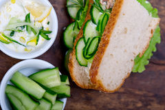 Fresh vegetarian sandwich with garlic cheese dip salad Stock Photo