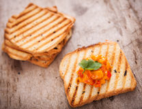 Fresh vegetarian toast Stock Image