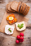 Fresh vegetarian toast for breakfast Royalty Free Stock Photos
