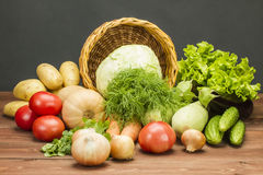 Fresh Vegetarian Vegetables. Fresh Vegetables on a Non-Calorie Vegetarian Kitchen Table Stock Image