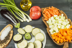 Fresh Vegetarian Vegetables. Fresh Vegetables on a Non-Calorie Vegetarian Kitchen Table Royalty Free Stock Photo
