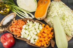 Fresh Vegetarian Vegetables. Fresh Vegetables on a Non-Calorie Vegetarian Kitchen Table Stock Photos