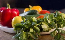 Fresh vegetbles on plate. Leaves of coriander, paprika, lime and cucumbers with drops of water on white plate Royalty Free Stock Photo