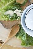 Fresh veggie with kitchen utensil Royalty Free Stock Photos