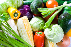 Fresh veggies. Group of fresh veggies and fruits with water drips Royalty Free Stock Image