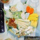 the ingredients to prepare dinner which is vegetable sukiyaki stock photography