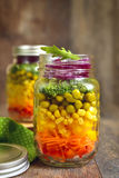 Fresh vegtable salad in a mason jar. Stock Photo