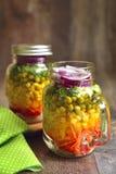 Fresh vegtable salad in a mason jar. Stock Photos