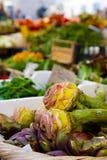 Fresh vernal artichokes on the market Campo dei Fiori, Rome Stock Image