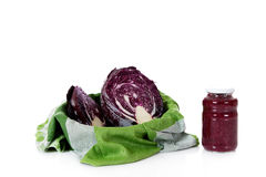 Fresh versus canned red cabbage Stock Photo