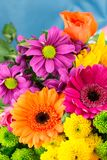 Fresh vibrant brightly coloured florist flowers. Vertical. Stock Photography