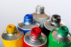 Fresh vibrant colors in tubes Stock Images