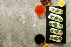 Fresh Vietnamese, Asian, Chinese food frame on grey concrete background. Spring rolls rice paper, lettuce, salad royalty free stock photos