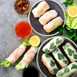 Fresh Vietnamese, Asian, Chinese food frame on grey concrete background. Spring rolls rice paper, lettuce, salad royalty free stock image
