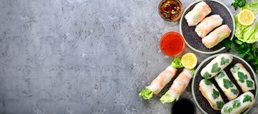 Fresh Vietnamese, Asian, Chinese food frame on grey concrete background. Spring rolls rice paper, lettuce, salad. Vermicelli, noodles, shrimps, fish sauce Royalty Free Stock Image