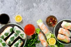 Fresh Vietnamese, Asian, Chinese food frame on grey concrete background. Spring rolls rice paper, lettuce, salad stock images