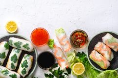 Fresh Vietnamese, Asian, Chinese food frame on white concrete background. Spring rolls rice paper, lettuce, salad stock image