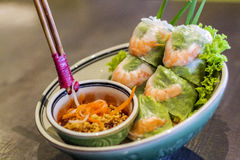 Fresh Vietnamese Spring Roll with shrimp Royalty Free Stock Photo