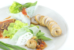 Fresh Vietnamese style food. Vietnamese  food ,Grilled pork with vegetables and wrapping flour Stock Image