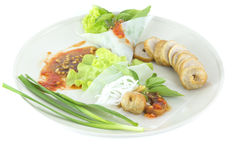 Fresh Vietnamese style food. Vietnamese  food ,Grilled pork with vegetables and wrapping flour Royalty Free Stock Photo