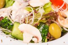 Fresh village salad with champignons. Stock Photos