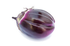 Fresh violet eggplant. On a white background Royalty Free Stock Images