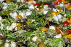 Fresh vitamin salad with tomatoes, feta cheese, olive, spinach,a royalty free stock photography
