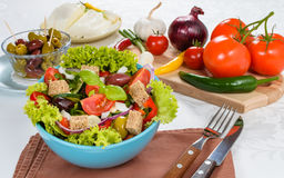 Fresh vitaminic green salad with bread cubes Royalty Free Stock Images